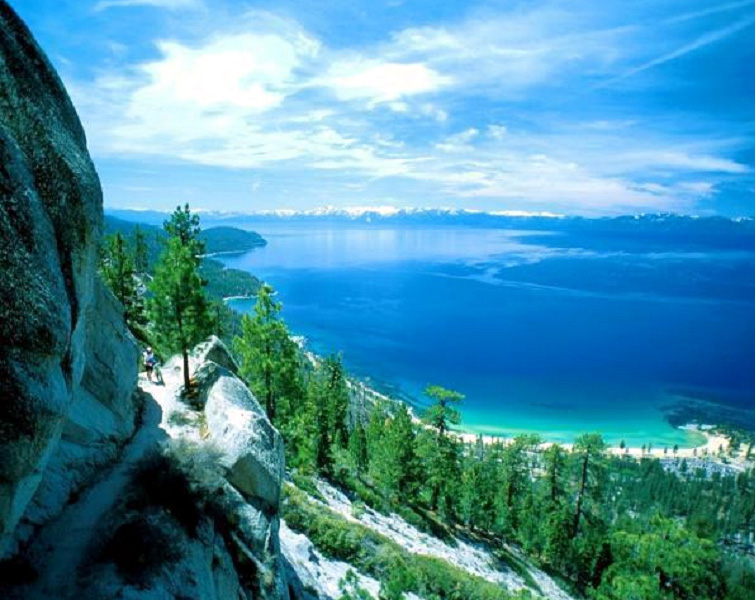 Lake Tahoe from the surrounding Sierra Nevada mountains.
